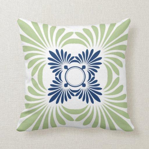 Almohadas de tiro del estampado de flores: Verde a