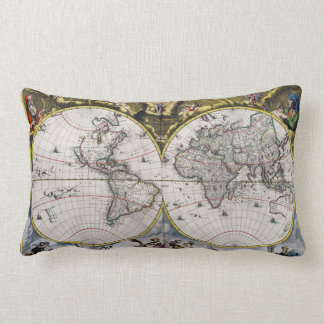 Almohadas de tiro del mapa del mundo del vintage 1