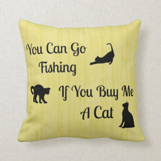 Almohadas de tiro divertidas del gato de la pesca