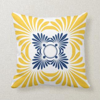 Almohadas de tiro florales modernas: Amarillo azul