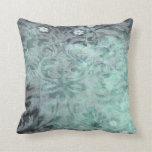 Almohadas del azul del vintage del damasco
