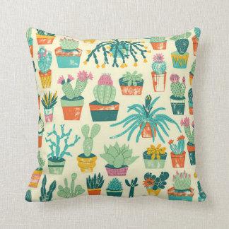 Almohadas del estampado de plores del cactus