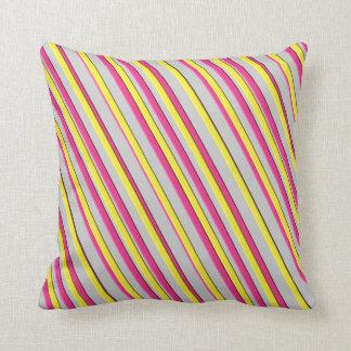 Almohadas grises rosadas amarillas llamativas de cojín decorativo