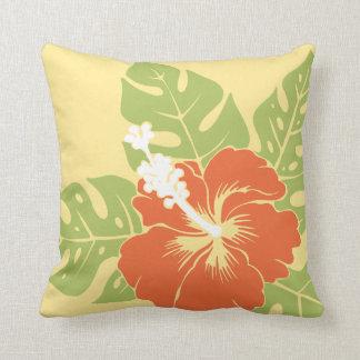Almohadas hawaianas del cuadrado del hibisco de la