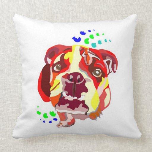 Almohadas inglesas abstractas coloridas del dogo