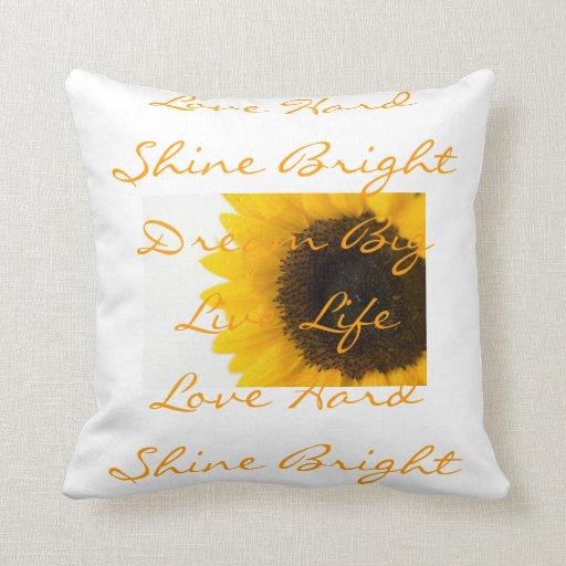 Almohadas inspiradoras de la palabra del girasol cojín decorativo