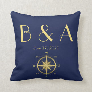 Almohadas náuticas azules cones monograma del boda