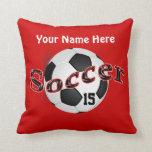 Almohadas personalizadas del fútbol con NOMBRE y