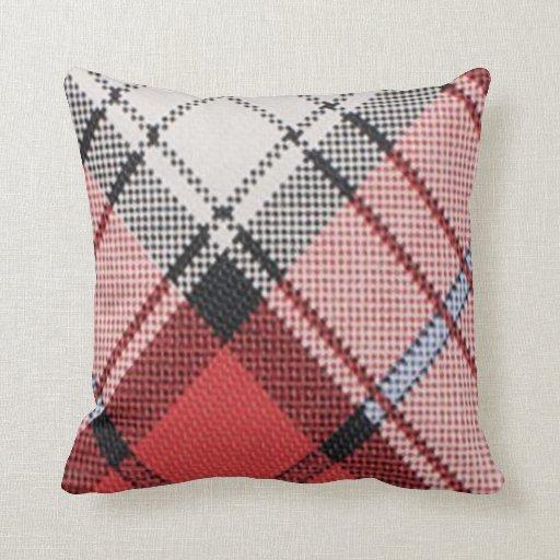 Almohadas rojas del diseñador de la tela escocesa