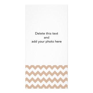 Almond and White Chevron Pattern Photo Card