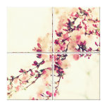 Almond blooms Vintage of 4 divisors canvas picture Stretched Canvas Prints