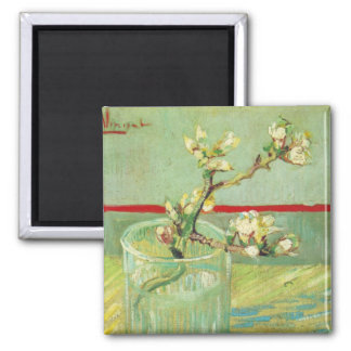 Almond Blossom Branches in Glass Van Gogh Fine Art 2 Inch Square Magnet