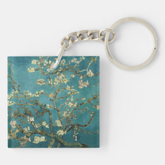 Almond Blossom Double-Sided Square Acrylic Keychain
