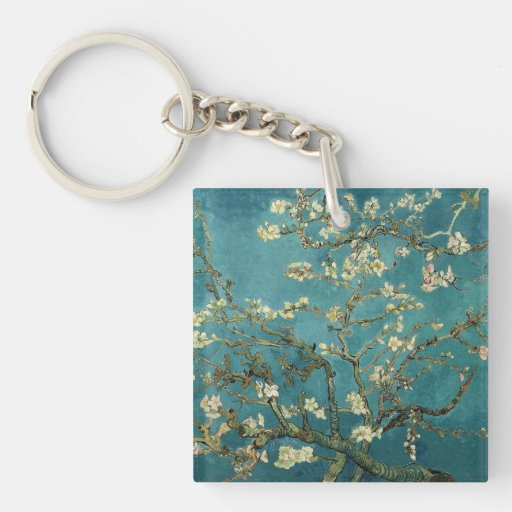Almond Blossom Square Acrylic Key Chain