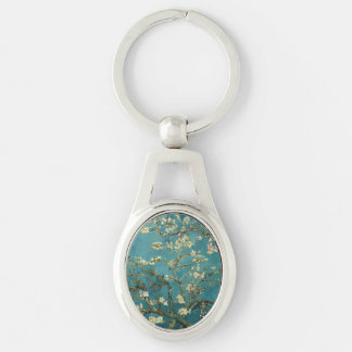 Almond Blossom Silver-Colored Oval Metal Keychain