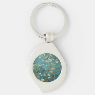 Almond Blossom Silver-Colored Swirl Metal Keychain