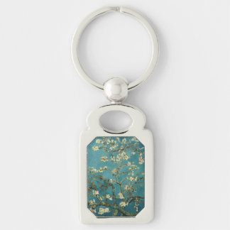 Almond Blossom Silver-Colored Rectangular Metal Keychain