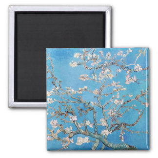 Almond Blossoms Blue Vincent van Gogh Art Painting 2 Inch Square Magnet
