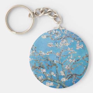 Almond Blossoms Blue Vincent van Gogh Art Painting Basic Round Button Keychain