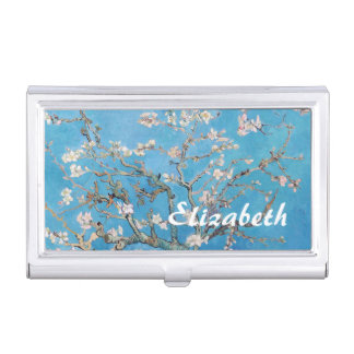 Almond Blossoms Blue Vincent van Gogh Art Painting Business Card Holder