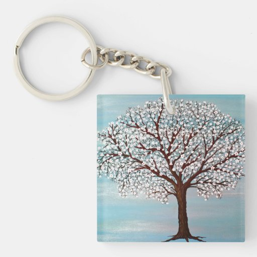 """""""Almond Blossoms"""" Square Acrylic Keychains"""