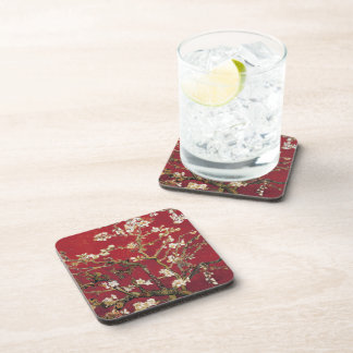 Almond Blossoms Red Vincent van Gogh Art Painting Coaster