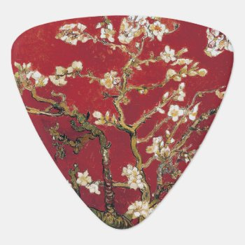 Almond Blossoms Red Vincent Van Gogh Art Painting Guitar Pick by Then_Is_Now at Zazzle