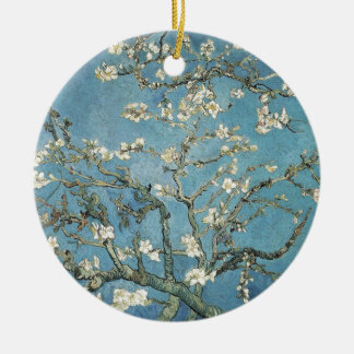 Almond branches in bloom, 1890, Vincent van Gogh Double-Sided Ceramic Round Christmas Ornament
