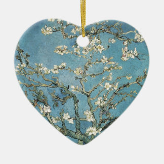 Almond branches in bloom, 1890, Vincent van Gogh Double-Sided Heart Ceramic Christmas Ornament