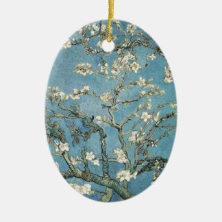 Almond branches in bloom, 1890, Vincent van Gogh Double-Sided Oval Ceramic Christmas Ornament