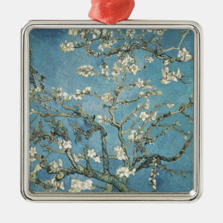 Almond branches in bloom, 1890, Vincent van Gogh Square Metal Christmas Ornament