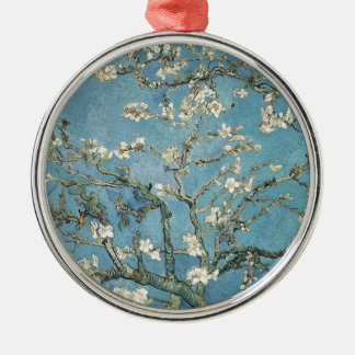 Almond branches in bloom, 1890, Vincent van Gogh Round Metal Christmas Ornament