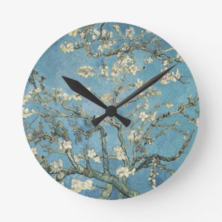 Almond branches in bloom, 1890, Vincent van Gogh Round Wall Clock