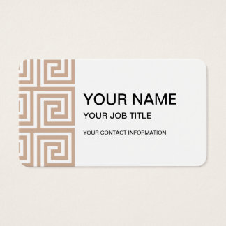 Almond Brown Tan White Greek Key Pattern Business Card