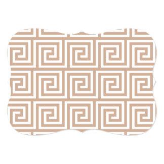 Almond Brown Tan White Greek Key Pattern 5x7 Paper Invitation Card