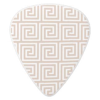 Almond Brown Tan White Greek Key Pattern White Delrin Guitar Pick