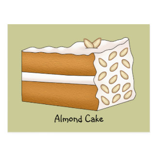 Almond Cake Recipe Card Postcard