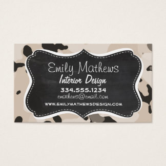 Almond Color Camo; Retro Chalkboard Business Card
