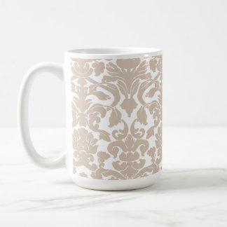 Almond Color Damask Pattern Classic White Coffee Mug