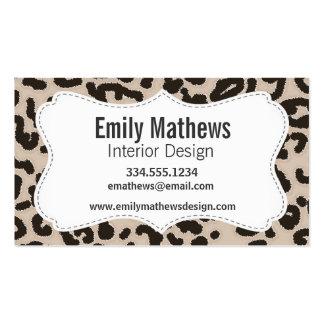 Almond Color Leopard Animal Print Business Cards