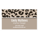 Almond Color Leopard Animal Print; Personalized Business Card Template
