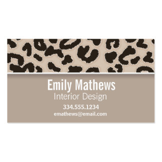 Almond Color Leopard Animal Print Personalized Business Card Template