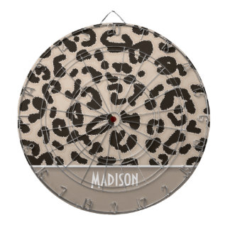Almond Color Leopard Animal Print; Personalized Dart Board