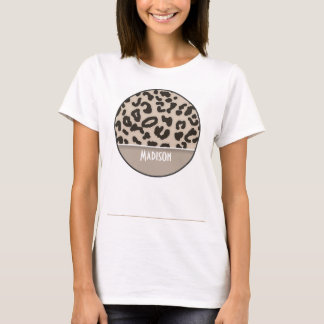Almond Color Leopard Animal Print; Personalized T-Shirt
