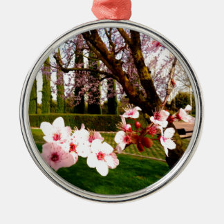 almond flower beauty and peace metal ornament