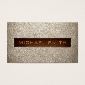 Almond Leather Look Professional Business Card
