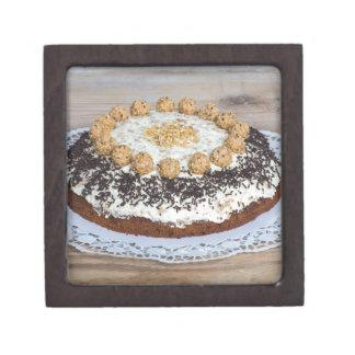 Almond nut cake on rus gift box