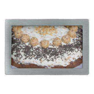 Almond nut cake on rus rectangular belt buckle