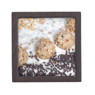 Almond nut cake with chocolate sprinkles detail jewelry box