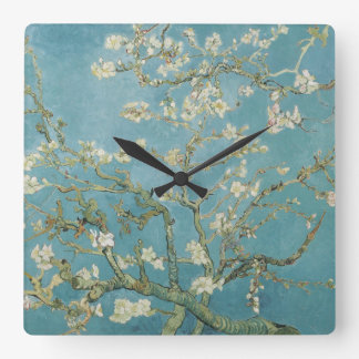 Almond tree in blossom by Vincent Van Gogh Square Wall Clocks